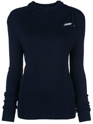 Monse Logo Drawstring Fitted Sweater Blue