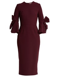 Roksanda Ilincic Lavete Bow Sleeved Crepe Midi Dress Burgundy