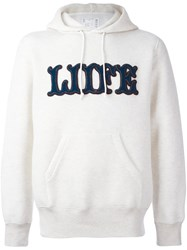 Sacai Liife Applique Hoodie Nude And Neutrals