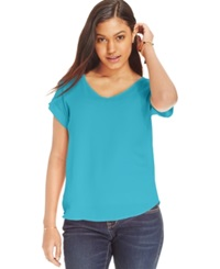 Hippie Rose Juniors' Loose Fit V Neck Tee Tahitian Turquoise