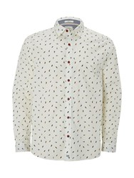 White Stuff Men's Flip Flop Print Long Sleeve Shirt Ecru