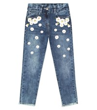 Monnalisa Embroidered Stretch Cotton Jeans Blue