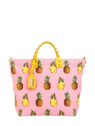 Dolce And Gabbana Pineapples Print Cotton Canvas Tote Bag