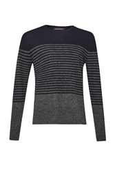 French Connection Men's Turner Stripe Knit Sweater Charcoal