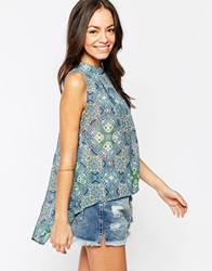 Influence High Neck Gathered Hi Lo Top Blue