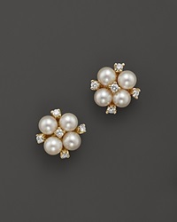 Bloomingdale's Cultured Freshwater Pearl And Diamond Earrings In 18K Yellow Gold Gold White
