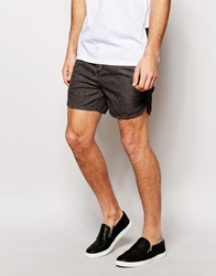 Asos Chino Shorts In Short Length With Acid Wash Detail Washedblack