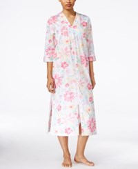 Miss Elaine Floral Print Long Zip Front Robe Watercolor Multi Floral
