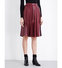 Moandco. Pleated Faux Leather Chiffon Skirt Rumba Red