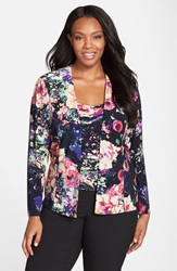 Alex Evenings Print Twinset Plus Size Black Multi