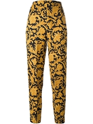 Istante By Gianni Versace Vintage Baroque Print Trousers Black