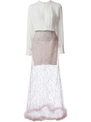 Alessandra Rich Layered Lace Faux Fur Trimmed Long Dress Pink And Purple