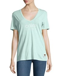 Peace Love World Kim Calm Soul V Neck Tee Light Green