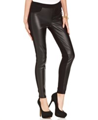 Tinseltown Juniors Pants Skinny Faux Leather Ponte Knit Frontal Leather