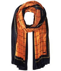 Michael Michael Kors Multi Dressage Oblong Scarf Mimosa Navy Blue Scarves Orange