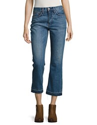 Free People Cotton Cropped Denim Pants Blue