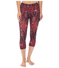 The North Face Motivation Printed Crop Leggings Cabaret Pink Coastal Fjord Blue Summerdaze Print Prior Season Workout Brown