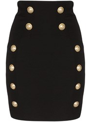 Balmain Button Detail Mini Skirt Black