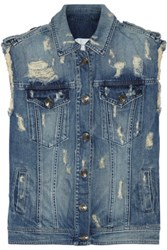 Balmain Pierre Distressed Denim Vest Mid Denim