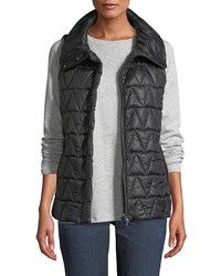 Eileen Fisher Chevron Quilted Snap Front Vest Black
