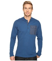 Nau Randygoat Lite Henley Top Lagoon Heather Men's Long Sleeve Pullover Blue