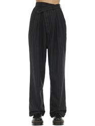 R 13 Pinstriped Crossover Wool Blend Pants Black