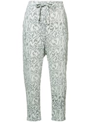 Raquel Allegra Marble Print Cropped Trousers Grey