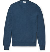 Brioni Slim Fit Honeycomb Knit Cashmere Sweater Blue