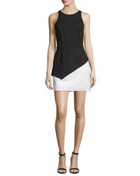 Halston Sleeveless Colorblock Peplum Dress Black Eggshell