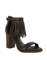 Mia Stacked Heel Leather Sandals Dark Brown