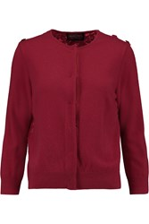Giambattista Valli Appliqued Organza Paneled Cashmere Cardigan Red