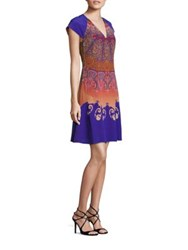 Etro Cap Sleeve Silk Fit And Flare Dress