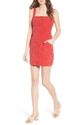The Fifth Label Button Front Corduroy Dress Red