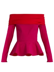Emilio De La Morena Tasman Bi Colour Silk Blend Peplum Top Red Multi