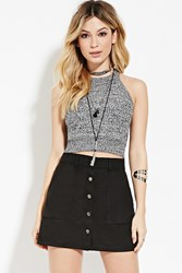 Forever 21 Marled Knit Cropped Cami Cream Black