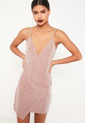Missguided Pink Strappy Wrap Buckle Detail Bodycon Dress Rose