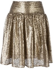 Michael Michael Kors Metallic Grey Sequin Pleated Skirt