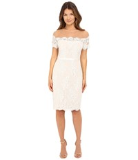 Marchesa Short Sleeve Lace Cocktail With Beaded Illusion Neckline Ivory