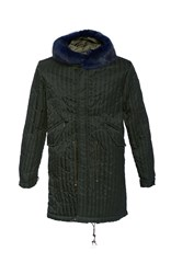 Mr And Mrs Italy Fur Trimmed Hood Quilted Parka Green