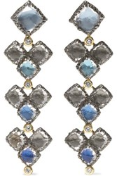 Larkspur And Hawk Sadie Cluster 14 Karat Gold Rhodium Dipped Quartz Diamond Earrings Silver