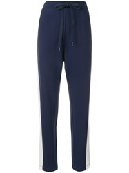 Twin Set Side Stripe Tapered Track Pants Blue