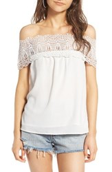 Wayf Women's Lace Off The Shoulder Top White