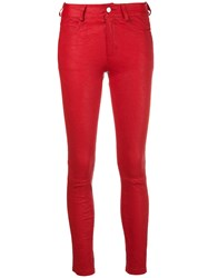 Zadig And Voltaire Biker Skinny Fit Jeans Red
