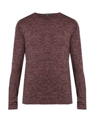 John Varvatos Wool And Linen Blend Jersey Top Burgundy