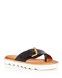 See By Chloe Tiny Scalloped Platform Thong Sandals Black Gold