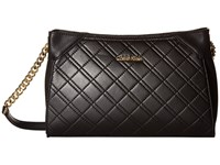Calvin Klein Quilted Lamb Crossbody Black Gold Cross Body Handbags
