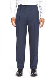 Men's Big And Tall Linea Naturale Wrinkle Free Pleated Micro Twill Trousers Navy
