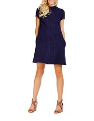 Donna Morgan Short Sleeve High Neck Knit Dress Marine Navy