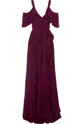 Elie Saab Ruffled Silk Crepe De Chine Maxi Dress Plum