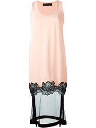 Versace Sheer Hem Dress Pink And Purple